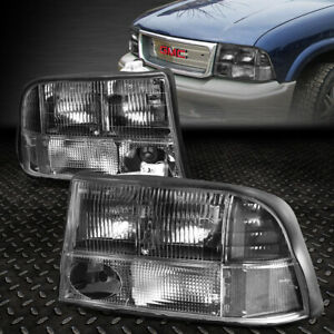 For 98 05 Gmc Jimmy Sonoma Bravada Black Housing Clear Corner Headlight Lamps
