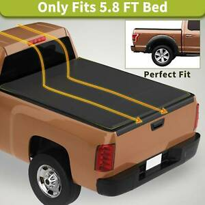 Soft Tri fold Truck Bed Tonneau Cover 5 8ft For 14 18 Chevy Silverado gmc Sierra