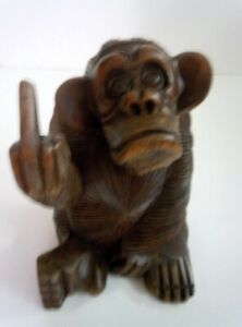 Wooden Carved Monkey Flipping The Bird Rude Statue 6 1 2 Inch