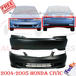 Front Rear Bumper Cover Primed Plastic For 2004 2005 Honda Civic Coupe Models