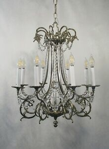 Antique Vintage Chandelier Silver Pewter French Ornate Beaded 8 Light Unique