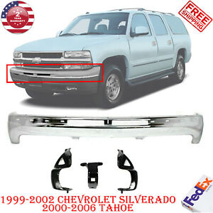Front Bumper Chrome Steel Brackets Fits Chevy Silverado 99 02 Tahoe 00 06