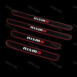 For Jdm Nismo Black Rubber Car Door Scuff Sill Cover Panel Step Protector 4pcs