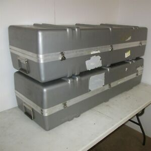 Trade Show Exhibit Hard Case 51x18x13 Silver Molded Plastic Display Goods