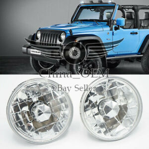 Head Lamps Chrome Round Headlights Conversion 5 Clear Lens Pair Driving Light