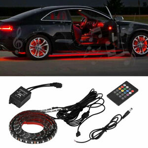 Led Strip Under Car Tube Underglow Underbody System Neon Light Kit Sound Active