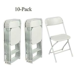10pcs High Quality Comfort Portable Plastic Folding Chairs In Home Office White