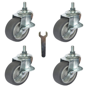 4x Brake Stem Casters 3 8 16x1 3 Swivel Rubber Stem Caster Wheels With Nuts