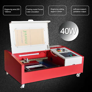 40w Co2 Laser Engraving Cutting Machine Engraver Cutter 12x8 In K40 4 Rounds