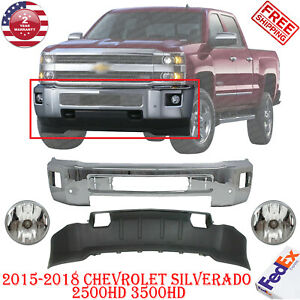 Front Bumper Chrom Steel Valance Fog For 15 18 Chevy Silverado 2500hd 3500hd