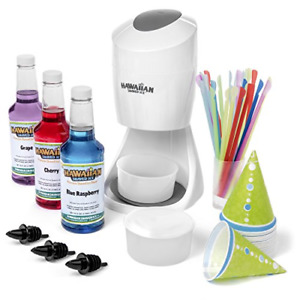 Ice Shaved Ice And Snow Cone Machine With 3 Flavor Syrup Pack And Accessories