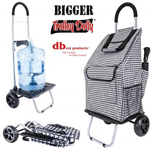 Bigger Trolley Dolly Houndstooth Shopping Grocery Foldable Cart Lightweight