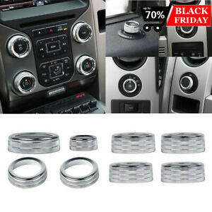 8pcs Ac Radio Switch Release Mirrors 4wd Knob Ring Trim For Ford F150 2013 2014