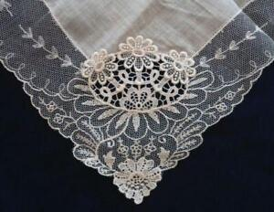 Nwt Embroidered Net Lace Wedding Hanky Desco Austria Cream White Floral New