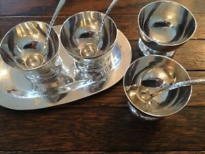 Set Of 4 Vintage Mexican Plat Mex Sterling Salt Cellars With Tray And 3 Spoons