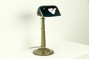 Emeralite Emerald Green 1916 Pat Antique Brass Banker Desk Or Piano Lamp 31964