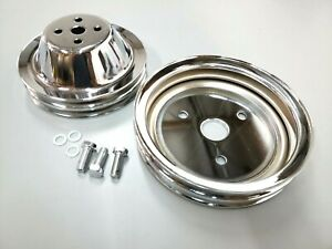 Sbc Small Block Chevy 2 Groove Chrome Steel Short Water Pump Pulley Kit 327 350