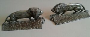 Pair Of Antique Silver Plate Over Brass Lion Bookends Or Doorstops Unbranded