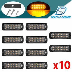 10x 36w Amber 12led Car Truck Emergency Warning Hazard Flash Strobe Light 12 24v
