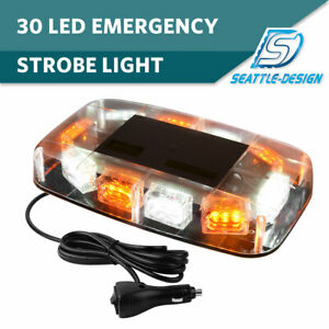 30 Led Amber White Top Roof Flash Emergency Mini Strobe Light Bar 12v 24v