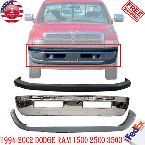 Front Bumper Chrome Steel Up low Cover For 1994 2002 Dodge Ram 1500 2500 3500