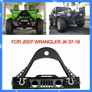 Stubby Front Bumper W Stinger Fog Light Housing For Jeep Wrangler 07 18 Jk