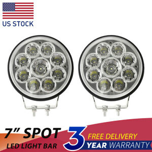 Pair 7 Inch Led Work Lights 180w Round Led Driving Bar Fog Offroad 4wd Suv