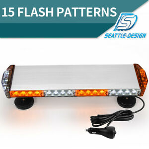 21inch Amber white Emergency Rooftop Hazard Warning Strobe Light Bar Universal