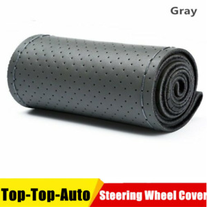 Gray 38cm Genuine Leather Diy Auto Car Steering Wheel Cover Neddle