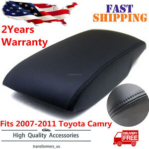 Fits 2007 2011 Toyota Camry Leather Center Console Lid Armrest Cover Black