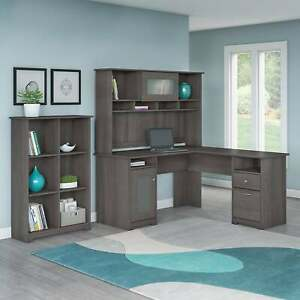 Copper Grove Daintree L shaped Hutch Desk With 6 cube N a