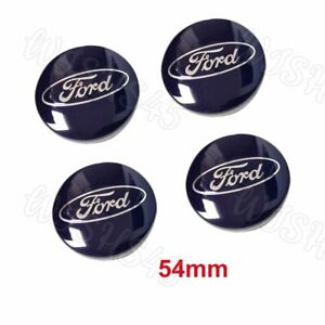 4x Blue Wheel Center Hub Caps Emblem Rim Hubcap Cover 54mm For Ford 6m21 1003 Aa
