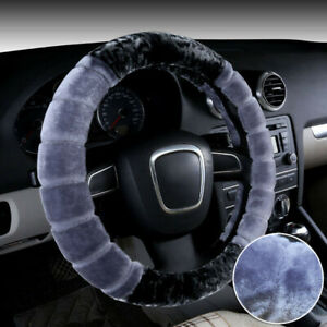 Universal Steering Wheel Cover For Winter Wool Plush Fuzzy Case Auto Car 38cm