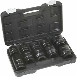 Klutch 1in Drive Impact Socket Set 10 Pc Sae