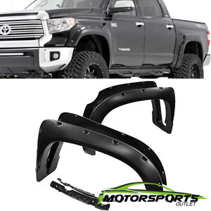 For 2014 2018 Toyota Tundra Pocket Style Shinny Black Rivet Fender Flares 15 16