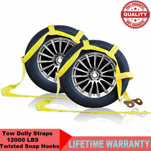 Demco Car Basket Straps Tow Dolly Wheel Net Set Flat Hooks Yellow 2pack