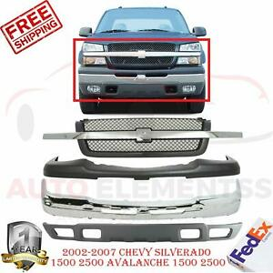 Front Bumper Chrome Low Up Cover Grill For 2002 2007 Chevy Silverado 1500
