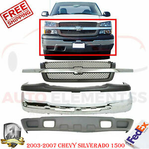 Front Bumper Chrome Grill Up Low Cover For 2003 2007 Chevy Silverado 1500