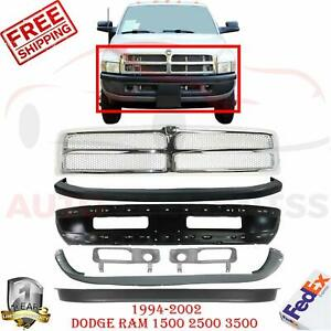 Front Bumper Primed Steel Up Low Cover Grill For 94 02 Dodge Ram 1500 3500