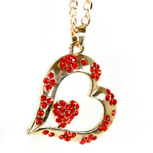 Bling Heart Rear View Mirror Hanging Car Charm Ornament Gold Red Pendant Chain