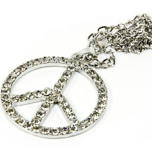 Peace Symbol Rear View Mirror Hanging Car Charm Ornament Silver Pendant W Chain