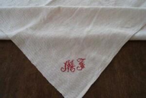 Vintage Homespun Woven Linen Tablecloth Turkey Red Monogram Mj Damask Square
