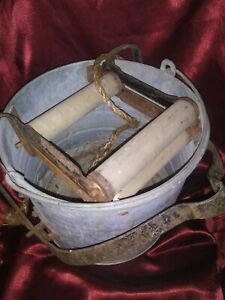Vintage Wash Bucket Galvanized Metal Mop Wringer Wood Rollers Old Farm Country