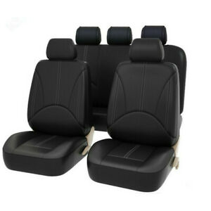 Black Leatherette Car Seat Covers Front Rear Full Set Synthetic Leather Auto Usa
