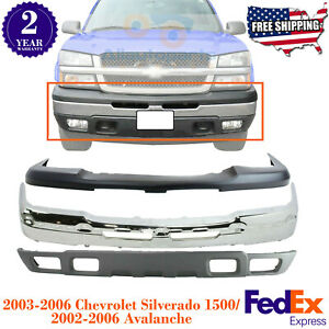 Front Bumper Chrome Lower Valance upper Cover For 03 06 Chevy Silverado 1500