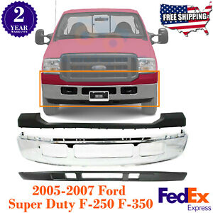 Front Bumper Chrome Steel Up low Cover For 2005 2007 Ford Super Duty F 250 F 350