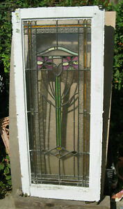 1920s Chicago Bungalow Leaded Stained Glass 3 Window Set Arts Crafts Movement