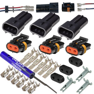 3 set Delphi Metri pack 630 2 conductor Connector W 10 12 Awg 46amp W tool