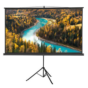Portable 100 Projector 16 9 Projection Screen Tripod Pull up Matte Black