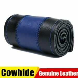 Black Blue Genuine Leather Diy Car Steering Wheel Cover 38cm W Needles Thread